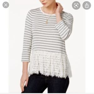 Maison Jules striped and lace top